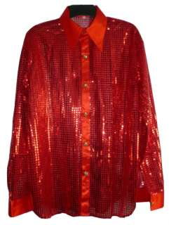 MEN BOY BAND SEQUIN CABARET PARTY FANCY CLUB SHIRT RED