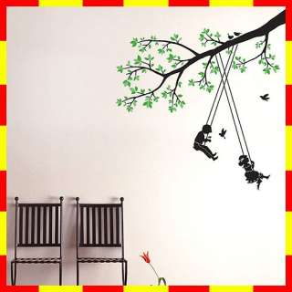 PS58091 TREE & SWING KIDS WALL ART DECOR MURAL STICKER