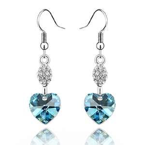 E534 Swarovski Crystal Blue Heart 18k Dangle Earring