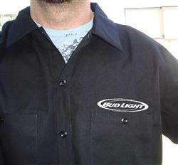 DICKIES Bud Light Beer Work Shirt New Short Sleeve Button Up BLACK