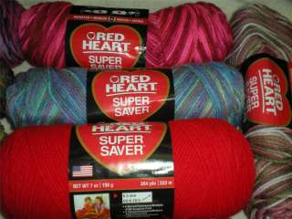 RED HEART SUPER SAVER YARN 7 OZ 5 OZ SKEINS VARIETY OF COLORS FREE