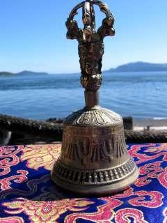 SOLID BRASS TIBETAN BUDDHIST RITUAL BELL & DORJE SET NEPAL NEW