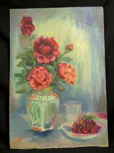 ANTIQUE STILL LIFE ROSES FLOWERS VASE CHERRIES PLATE CUP OIL PAINTING