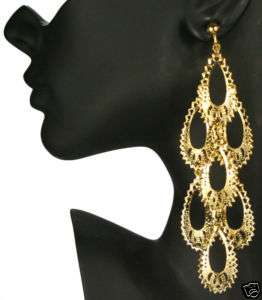 CLIP ON huge 5long GOLD PLATED BIG CHANDELIER EARRINGS