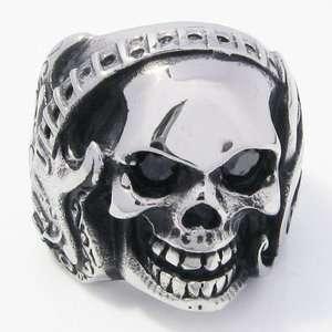 Big Heavy Fire Tribal Arrow Skull Stainless Steel Biker Mens Ring 1G6