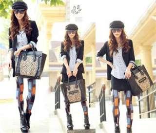 Fashion Womans Black&Leopard PU Leather Handbags Zipper Closure Totes