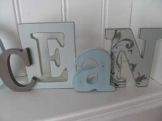 SHABBY BLUE LIGHTLY DISTRESSED WOODEN OCEAN PLAQUE SIGN NAUTICAL CHIC