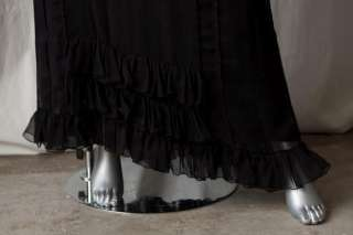 COUTURE COUTURE(Juicy)Black Silk Ruffle Long Gown Dress