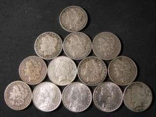 BAKERS DOZEN (13 COINS) BU   CHOICE B.U. MORGAN + PEACE SILVER DOLLAR