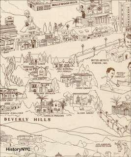 1937 HOLLYWOOD MOVIESTAR MOVIE STAR HOMES MAP