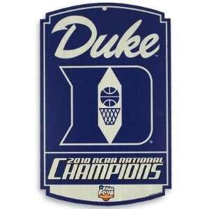 DUKE BLUE DEVILS 2010 NCAA BASKETBALL CHAMPS WOOD SIGN