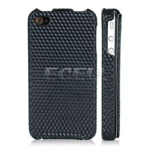 BLACK CUBE LEATHER FLIP CASE COVER FOR iPHONE 4 4G Electronics