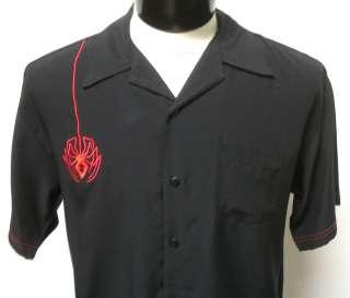 NEW 50s Retro Spider BLACK WIDOW Bar Bowling Shirt M L