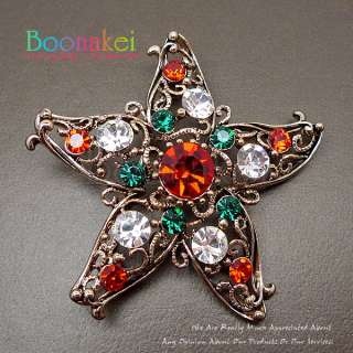Christmas Gold Star w Swarovski Crystal Brooch Pin J133