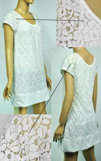 Ladies Lace Round Neck Mini Fitted Dress Chic Cap Sleeve Casual