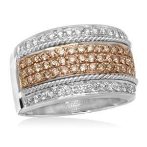 Champagne Diamond Fashion Ring 1 Carat (Ctw) 14K White Gold Ring