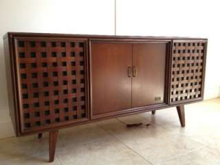 ZENITH STEREO CONSOLE RECORD PLAYER TUNER CREDENZA MID CENTURY MODERN