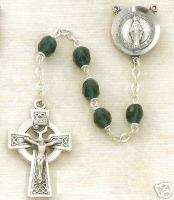 EMERALD CRYSTAL MIRACULOUS MEDAL ROSARY W/ CELTIC CROSS