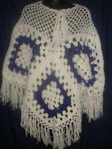 VTG Groovy Purple and White Crochet Poncho Cape Handmade Retro 1S18