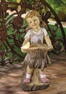 SOLAR LIGHT LAMP GIRL BIRD FEEDER SEED OUTDOOR GARDEN STATUE YARD NEW