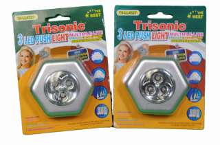 Lot of 2 Push 3 LED Touch Night Light Emergency Battery Operated