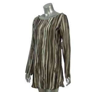 Sutton Studio Womens Charmeuse Brown Stripe Tunic Shirt