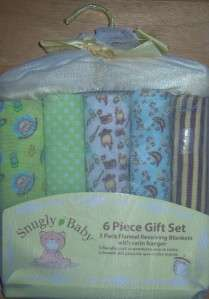 Snugly Baby 6 Piece Gift Set, Receiving Blankets, Baby Shower, Diaper