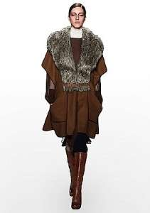 NEW$398 BCBG SMYTH PONCHO Wool Blend COAT Cape with Faux Fur Collar M