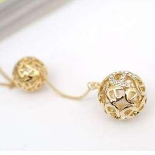 Korean Fashion Lovely Twin Golden Hollowed Cute Ball Sweater Chain
