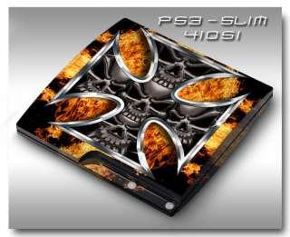 PS3 Slim Armored Skin Set   41051 Skull Iron Cross Fire