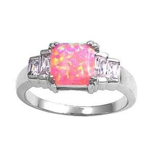 Sterling Silver 9mm Clear CZ & Pink Lab Opal Ring (Size 5   9)   Size