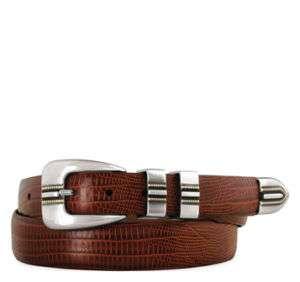 Johnston & Murphy Mens Lizard Grain Ranger Belt Cognac 75 8823 sz 36