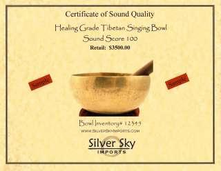 TIBETAN SINGING BOWL SOUND GRADING CERTIFICATE ~