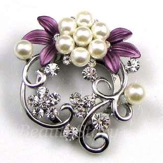 ADDL Item  rhinestone crystal flower Brooch Pin Scarf