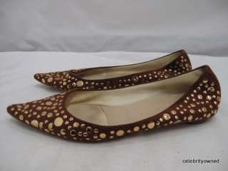 Sigerson Morrison Brown Suede Gold Stud Flats 7 B