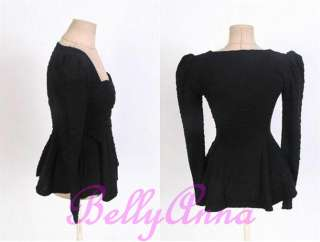 Korean Women Shrug Shoulder Square Neck Vtg Rockabilly Peplum Tops