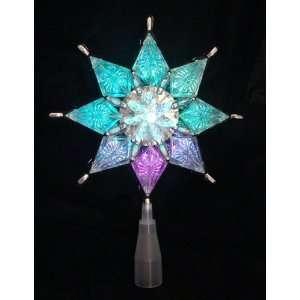 Silver Star Christmas Tree Topper   Multi Lights