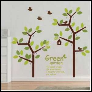 LARGE SIZE GREEN TREES & QUOTE   Removable Wall Stickers Home Shop