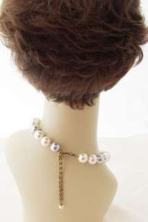 shocked ivory pink gray faux 10mm pearl necklace earrings jewelry set