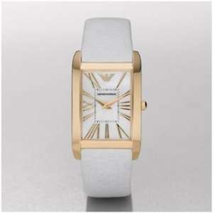 Watch White Leather Band, Gold Trim & Pearl Face