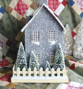 Colonial Primitive Gray Stone Lighted Putz Christmas House Paper Mache