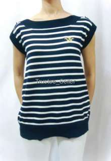 JUICY COUTURE Crest Open Back Stripe Sweater Shirt Top