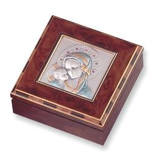 Burlwood Sterling Silver Madonna & Child Keepsake Box Jewelry