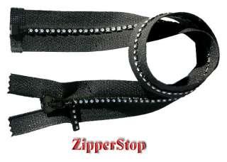 20 Swarovski Rhinestone Zipper ~ Separating ~ Black ~ Small Stones ~