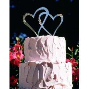 Double Hearts Swarovski Crystal Cake Topper in Gold or