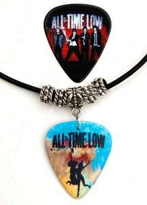 All Time Low Black Leather Necklace + Matching Pick