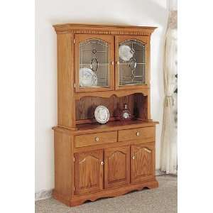 Country Style Solid Oak Wood Buffet & Hutch w/Bevelled