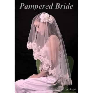 Lace Mantilla Bridal Wedding Veil 49x49 Ivory Clothing