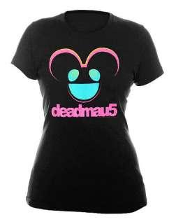 DEADMAU5~ BLACK PINK GLITTER BLUE EYES GIRLS SHIRT