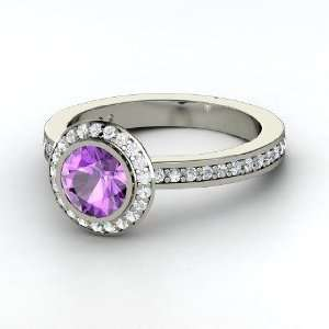 Roxanne Ring, Round Amethyst 14K White Gold Ring with White Sapphire